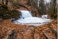 frozen waterfall on the  river among forest with old brown foliage on the ground