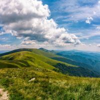 gorgeous cloudscape over stunning landscape. beautiful scenery on summer day in mountains