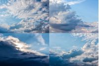 set of images with heavy clouds on a blue sky