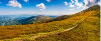 panoramic summer landscape. path through the meadow uphill to the mountain top