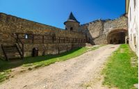 Stara Lubovna, Slovakia - AUG 28, 2016: inner courtyard of old medieval castle. tower and entrance in to the castle. popular tourist destination