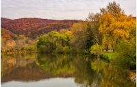 landscape with calm river in autumn. beautiful mountainous scenery with red and yellow foliage