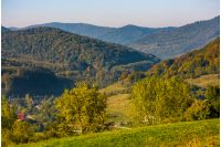 lovely Carpathian countryside in mountains. beautiful scenery in early autumn morning
