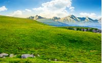 Hight Tatra mountain summer landscape. meadow with huge stones among the grass on top of the hillside near the peak of mountain range