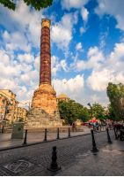 ISTANBUL, TURKEY - AUGUST 18, 2015: Column of Constantine the most important examples of Roman art in Istanbul. Old monument is located along Divan Yolu street that leads to Sultanahmet Square