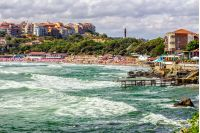 SOZOPOL - AUGUST 9: Old City  beach on August 9, 2015 in Sozopol, Bulgaria. Waves running  on to the beach of ancient Bulgarian city Sozopol in the mornig