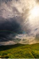 beautiful summer landscape. grassy meadow on a hillside of mountain ridge at  cloudy sunset with rainbow