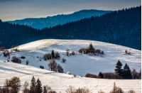 mountainous rural area of Carpathians in winter on fresh frosty morning