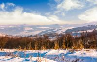 mountainous countryside on bright winter day. lovely Carpathian landscape