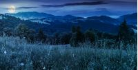 panorama of a beautiful grassy meadow in mountains at night in full moon light. spruce forest on a hillside. rolling hills fall down in to the foggy valley in the distance. wonderful summer landscape