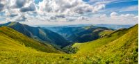 panoramic view of alpine mountain ridges. gorgeous landscape in summer on a cloudy day
