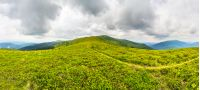 panoramic landscape with narrow meadow path in grass on top of mountain range