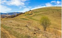 Spring time rural landscape. Path through agricultural fields in Carpathian mountains