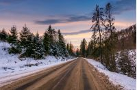 road through winter forest at dusk. lovely transportation scenery in mountains with snowy hills