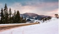 road turnaround near the forest in snowy mountains. lovely transportation winter scenery in Carpathian mountains