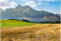 Tatra mountains in evening haze behind the forest and rural field