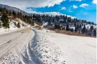 road; snow; spruce; winding; winter; forest; country; mountain; landscape; tree; nature; pine; snowy; scene; forest; cold; sky; white; ice; frost; season; beautiful; blue; january; way; hill; beauty; conifer; curve; outdoor; day; wood; range; fir; tracks; travel