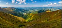 spectacular panoramic view from the top of mountain ridge. gorgeous Carpathian landscape in autumn on a cloudy day