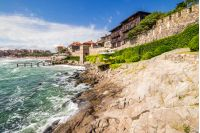 SOZOPOL - AUGUST 9: Old City  embankment on August 9, 2015 in Sozopol, Bulgaria.ancient european city Sozopol on a rocky shore near sea in summer. piere and steps to sea shore