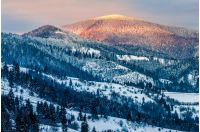 carpathian mountain rural area near peaks in snow on frosty sunrise in winter