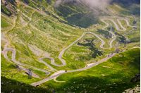 transfagarasan route view from above. gorgeous tourist attraction in romania carpathian mountains