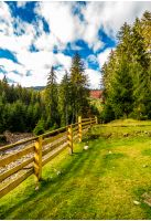 wooden fence in forest camping place. beautiful weather in autumn mountains