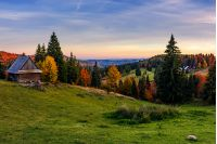 woodshed and trees on hillside meadow at sunset. mountainous village among mixed forest with colorful foliage. splendid rural landscape of Romania