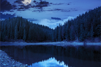 view on crystal clear lake with rocky shore near the pine forest at the foot of the  mountain at night in moon light