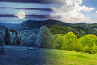 day and night summer panorama landscape collage. fence near the meadow path on the hillside. forest in fog on the mountain with full moon