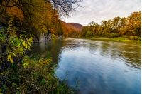 forest river in autumn mountains. lovely grassy shores with yellowed trees and rocky cliff. gorgeous nature autumnal scenery at sunrise